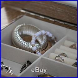 Modern Glam Rustic Ash Mirrored Freestanding Jewelry Armoire Storage Cabinet Box