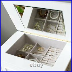 Modern Glam White Finish Jewelry Armoire Freestanding Cabinet Storage Box
