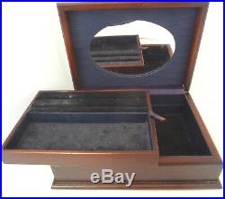 Modern Solid SILVER Topped Wooden Jewelry Box. Carrs of Sheffield 1993. 21cm