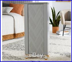 Modern Wave Gray Wood Freestanding Jewelry Armoire Cabinet Storage Holder Box