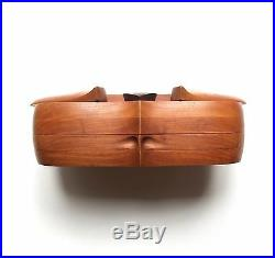 Modernist Op Art Studio Teak Wood Jewelry / Stash Box Artist Signed 1970 Vintage