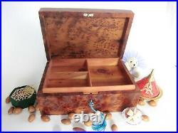 Moroccan thuya wood jewelry organizer box, storage box with lock 10.2 X 7 X 4
