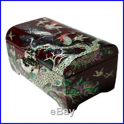 Mother of Pearl Art Inlay 2-Tier Lacquer Wood Jewelry Trinket Keepsake Box Chest