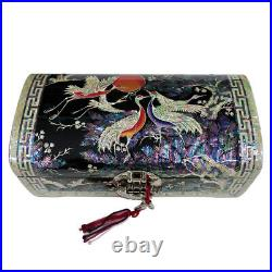 Mother of Pearl Art Wood Korean Red Lacquer Jewelry Keepsake Treasure Chest Box