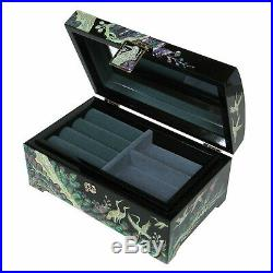 Mother of Pearl Black Wood Jewelry Earrings Ring Necklace Gift Box Case Storage