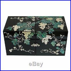 Mother of Pearl Grape Wood Black Secret Keepsake Treasure Jewelry Box Chest Case