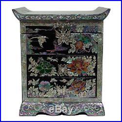 Mother of Pearl House Flower Wood Oriental Treasure Jewelry Ring Box Chest Case