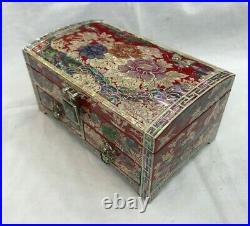 Mother of Pearl Inlaid Red Lacquer Wood Jewelry Keepsake Box Decorative Art Case