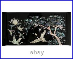 Mother of Pearl Inlay Asian Lacquer Wood Black Treasure Chest Jewelry Drawer Box