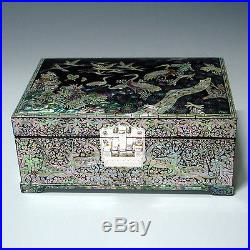 Mother of Pearl Lacquer Wood Art Decorative Jewellery Trinket Keepsake Box Chest