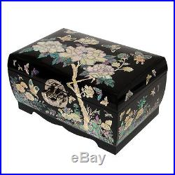 Mother of Pearl Lacquer Wooden Jewelry Keepsake Chest Peony Painting Trinket Box