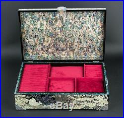 Mother of Pearl Luxury 2Tier Wood Jewelry Necklace Ring Earrings Box Case Chest