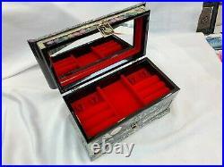 Mother of Pearl Oriental Treasure Mirror Jewelry Box Chinoiserie Korea Nacre Art