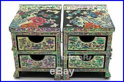 Mother of Pearl Secret Wood Black Treasure Jewelry Ring Trinket Box Chest Case