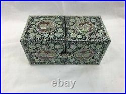 Mother of Pearl Wood Korea flower Oriental Treasure Jewelry RingBox Unique Japan