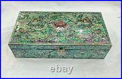 Mother of Pearl Wood Oriental Treasure Multi Mirror Jewelry Ring Box Korea Japan