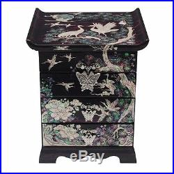 Mother of Pearl Wood Purple Jewelry Keepsake Trinket Treasure Lacquer Drawer Box