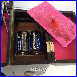 Music Make-Up Jewelry Box Japanese Geisha Scene Painted Laquer Wood Mirror Vtg