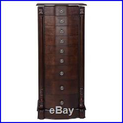 NEW Wooden Jewelry Cabinet Armoire Box Chest Mirror Ring Tray Necklace Organizer