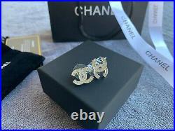 NIB CHANEL CRYSTAL CC Logo Studs Silver Earrings With Box