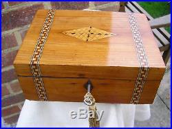 NICE c 1880 BLONDE ENGLISH OAK MARQUETRY BANDED JEWELLERY BOX TRINKET TRAY