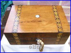 NICE c 1880 FIGURED WALNUT TUNBRIDGE STYLE INLAY JEWELLERY BOX TRINKET TRAY LOCK