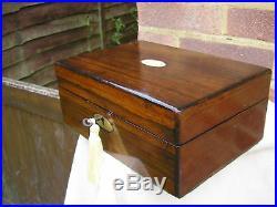 NICE c 1880 ROSEWOOD BRASS INLAY JEWELLERY BOX LIFT OUT TRINKET TRAY LOCKING BOX