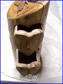 Native American Jewelry Box Natural Rustic Wood Carving Hand Made Original #3