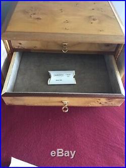 New AGRESTI LARGE 4 Drawer Jewelry Box With Key Locks Italy MSRP $795