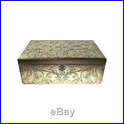 New Large Handmade Gold Jewelry Box Storage Container with Lock and Key