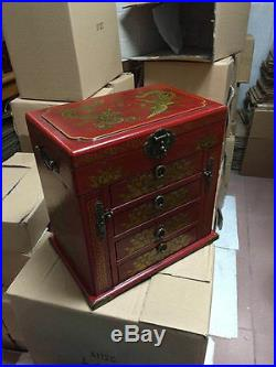 New Large Red Chinese Painted Lacquer Dragon Phoenix Jewellery Box with Mirror