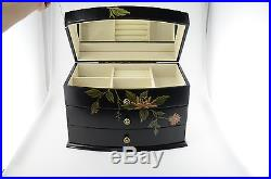 New Large Wood Flora Jewelry Chest Box Ample Storage Impressive Gift for her