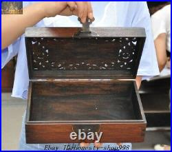 Old Chinese Dynasty Huanghuali Wood Carved Bat Peach Jewelry Box storage boxes