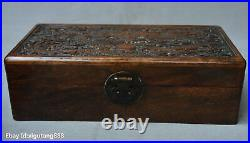 Old Chinese Huanghuali Wood Carved Dragon Beast Statue Storage box Jewelry chest