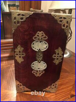 Old Chinese Rosewood & Brass Jewelry Box with 8 Carved Nephrite Jade Medallions
