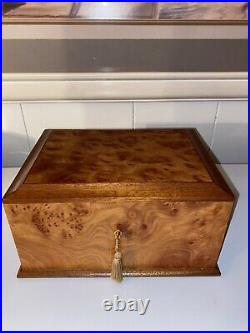 Osvaldo Agresti Italy Beautifully Hand Crafted Burled Briarwood Jewelry Box 9x7