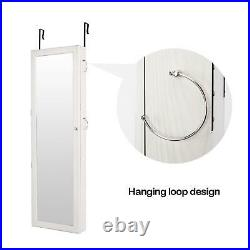 Over the Door/Wall Mount Mirrored Jewelry Armoire Cabinet Storage Organizer NEW
