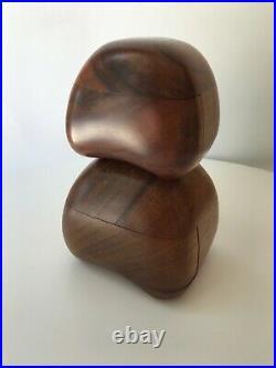 PAIR Rare Hand Carved Vintage Mid Century Dean Santner Rock Jewelry Trinket Box