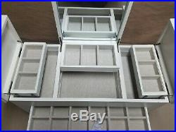 POTTERY BARN X Large Ultimate Jewelry Box Mono T White Wood Lined Drawers