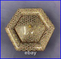 Persian Inlaid Khatam hexagonal Jewellery, Trinket Box