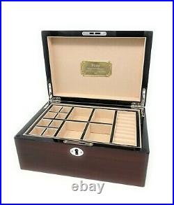 Personalised Stratton Wooden Gloss Mens Jewellery Box Engraved Birthday Gift