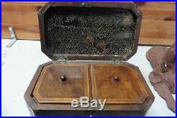 Primitive antique box with key. Key doesnt work 1800's trinket jewelry watch