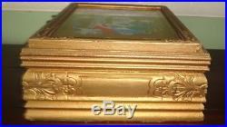 RARE 1936 Texas Centennial Reverse Painted Glass & Wood Jewelry Box Souvenir