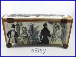 RARE Vintage Piero Fornasetti Wood Jewelry Box Godey's Fashions Ladies MCM