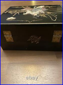 REDUCED-Antique Chinese Lacquer Wood Inlay Shoushan Stone & Jade Jewelry Box