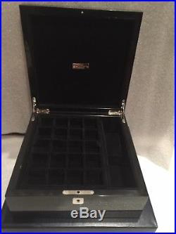 Ralph Lauren Ayers Carbon Fiber Valet Jewelry Watch Cufflink Trinket Box Skull