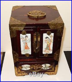 Rare Chinese White Porcelain Hand Painted Geisha Girl Wood Jewelry Box