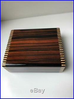 Rare Elie Bleu Paris Macassar Ebony Wood Jewelry Cufflinks Box Suede Leather