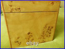 Reed & Barton Jewelry Box Selene of Rich Bird's Eye Maple Burl & Walnut Wood