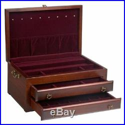 Reed & Barton Regal Jewelry Box Chest Lift Top + 2 Drawers Mahogany Finish